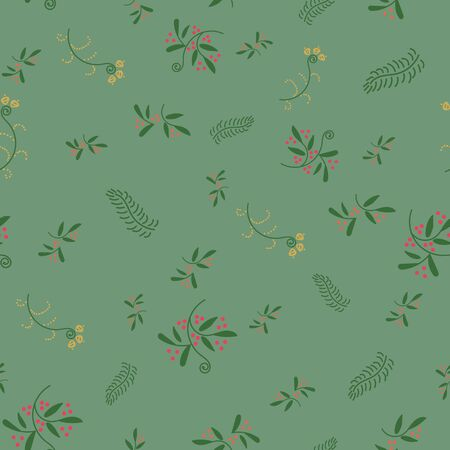 A seamless vecctor pattern with wild plants and flowers on a green backround. Delicate, romantic surface print design for nature lovers. Great for fabrics, cards, and organic products packaging.