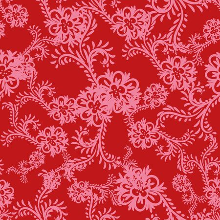 A seamless vector ornamental pattern with pink floral shapes on a red background. Feminine elegant surface print design. Great for fabrics, stationery, cards and gift wrap.