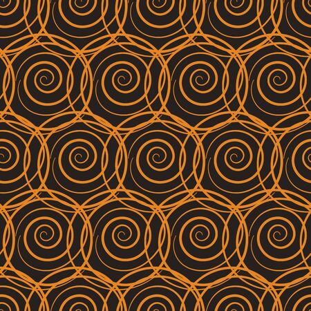 A seamless vector abstract netting pattern with bright orange circles on a dark background. Unisex surface print design. Great for wrapping paper, fabrics and packaging.