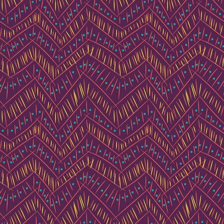 A seamless vector abstract zig zag pattern with doodlelines on purple background. Fun and interesting surface print design. Great for git wrap, stationery and fabrics.