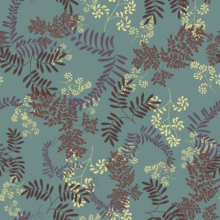 A seamless vector herbarium pattern with leaves silhouettes on a teal background. Elegant botanical surface print desgin. Great for fabrics and cards Stok Fotoğraf - 132301093
