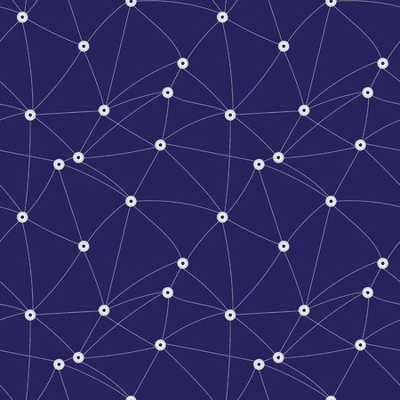 A seamless vector pattern with lines connecting points on a navy blue background. Unisex surface print design.