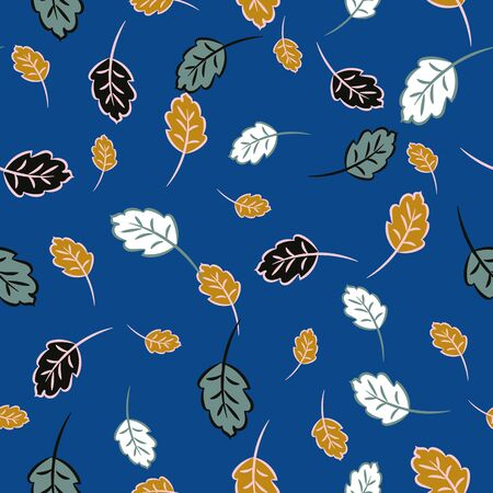 A seamless vector pattern with colorful autumn leaves on a blue background. Seasonal surface print design. Great for gift bags, packaging, and textiles.