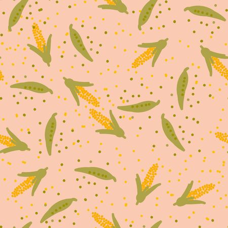 A seamless vector pattern with sweet peas and corn. Healthy eating themed surface print design.