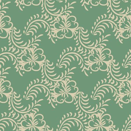 A seamless vector botanical pattern with flowers and leaves on a green background. Surface print design. Great for fabrics, stationery and gift wraps. Çizim