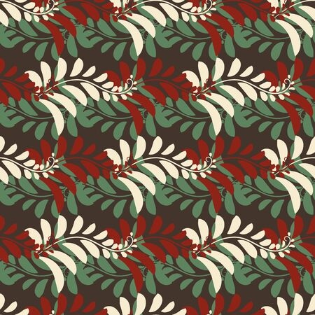 A seamless vecotr pattern with red, green and cream fern ornament. Surface print design. Great background for christmas cards, wrapping paper, stationery, packaging and textiles.