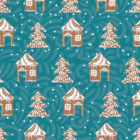 A seamless vector pattern with gingerbread houses and trees shaped cookies. Christmas surface print design. Great for seasonal cards, wrapping paper and backgrounds. Иллюстрация