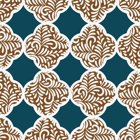 A seamless vector pattern with quatrefoil gingerbread cookies on a teal background. Surface print design. great for christmas gift wrap.