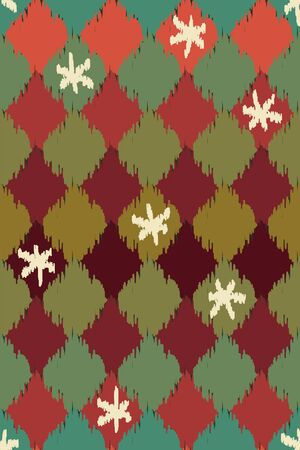 A seamless vector geometric ikat pattern with christmas colors, diamond shapes and snowflakes. Festive unisex surface print design. Great for cards, git wrap, backgrounds and textiles.