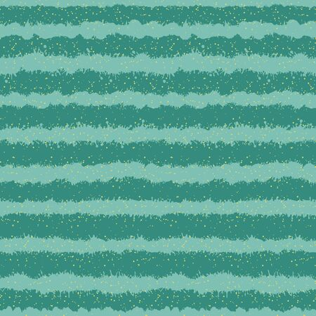 A seamless vector pattern with mint green horizontal splashed ink stripes with golden dots. Decorative surface print design. Great for backgrounds, packaging, fabrics and stationery. Иллюстрация