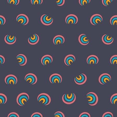 A seamless vector pattern with little rainbows scattered on a dark background. Surface print design. Great for wrapping paper, cards and textiles. Иллюстрация