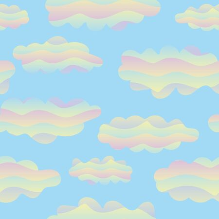 A seamless vector pattern with cotton candy rainbow clouds. Surface print design. Great for backgrounds, textiles and gift wrap. Иллюстрация