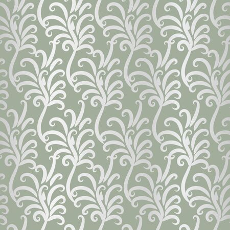 A seamless vector pattern with vintage silver feathers ornament. Decorative surface print design. Great for backgrounds, stationery and fabrics.