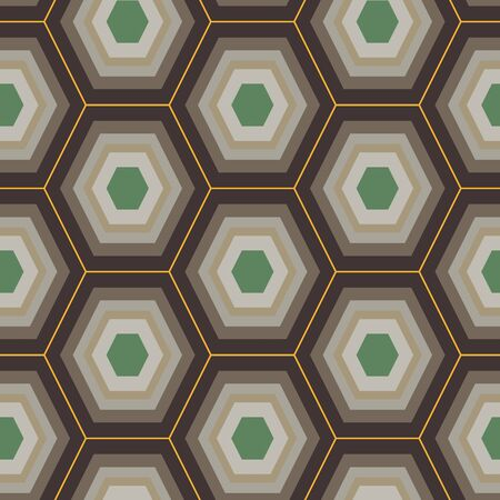 A seamless vector pattern with honeycomb shaped pattern in brown and green colors. Geometric surface print design. Great for backgrounds, tetiles, scrapbooking and packaging.