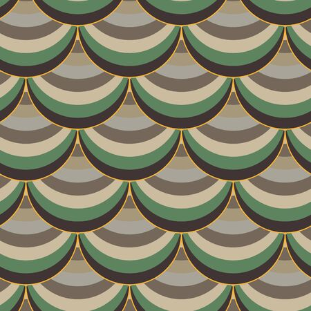 A seamless vector pattern with fishs scale shapes in browns and green. Surface print design. Great for stationery, backgrounds and git wrap. Иллюстрация