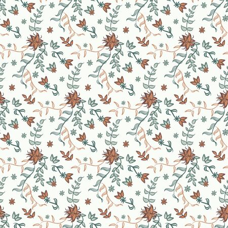 A seamless vector vintage chintz floral pattern. Delicate ornamental surface print design. Great for fabrics, romantic wrapping paper and cards.