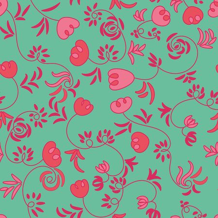 A seamless vector botanical pattern with doodle tulips in bright colors. Girly surface print design. Grat for fabrics, cards and wrapping paper. Иллюстрация