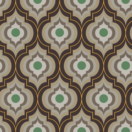 A seamless vector moroccan trellis pattern in sand and brownc colors. Geometric ornate surface print design. Classic pattern in neutral unisex colors.