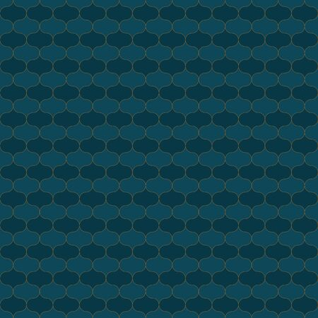 A seamless vector pattern with dark teal ornament with golden outlines. Surface print design. Иллюстрация