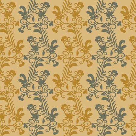 A seamless vector pattern with vertical botanical stripes in mustard and grey colors. Vintage surace print design. Great for home decor fabrics, backgrounds and romantic stationery. Иллюстрация