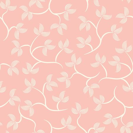 A seamless vector pattern with llight leavesand branches on a pink background. Girly delicate surface print design. Great or fabrics, stationery and packaging.