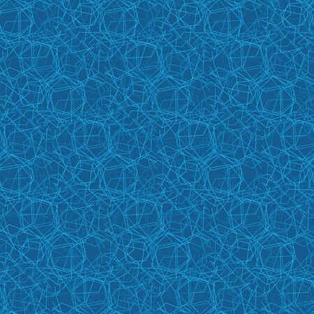 A seamless abstract vector pattern ackground with blue light lines forming geometric connetions. Modern surae print design. Great or backgrounds, stationery and pakaging.