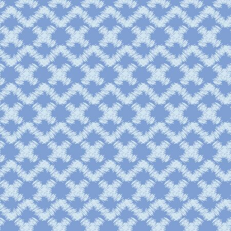 A seamless vector abstract pattern with pale indigo blue geometric shapes and zig zag. Simple unisex surface print design. Great for fabrics, stationery and backgrounds. Иллюстрация