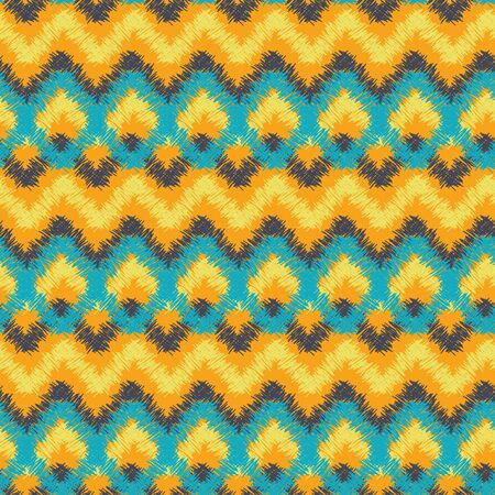 A seamless vector pattern with colorful geometric tribal design. Bright surace print design. Great for backgrounds, home decor, textiles and stationery. Иллюстрация