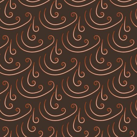 A seamless abstract vector pattern with linear ornament on a brown background. Unisex surface print design. Иллюстрация