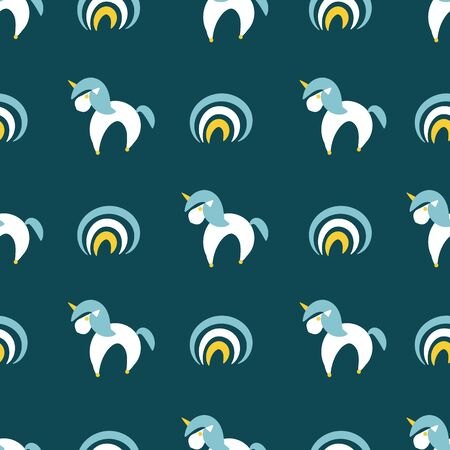 A seamless vector pattern with simple unicorns and rainbows on a dark teal background. Childish surface print design. Great for backgrounds, cards, gift wrap and fabrics. Иллюстрация