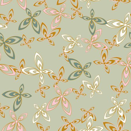 A seamless vector pattern with ornamental butterflies in delicate colors. Feminine surface print design. Great for cards, invitations and wrapping paper.