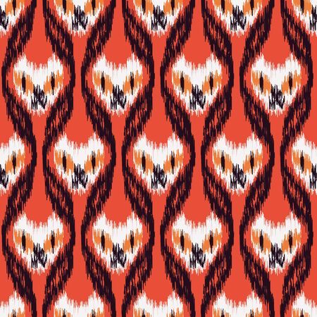 A seamless vector halloween ikat pattern with spooky cat faces on red background. Graphic surface print design. Great or cards, textiles, scrapbook and packaging.