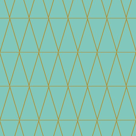 A seamless vector pattern with golden linear triangular pattern on an aqua blue background. Calm subtle surface print design. Great for backgrounds, stationery and fabrics.