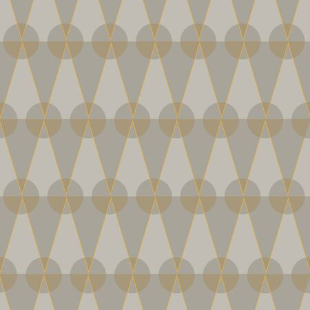 A seamless vetor pattern with sand colored triangles and cirles in geometric layout. Surface print design. Иллюстрация