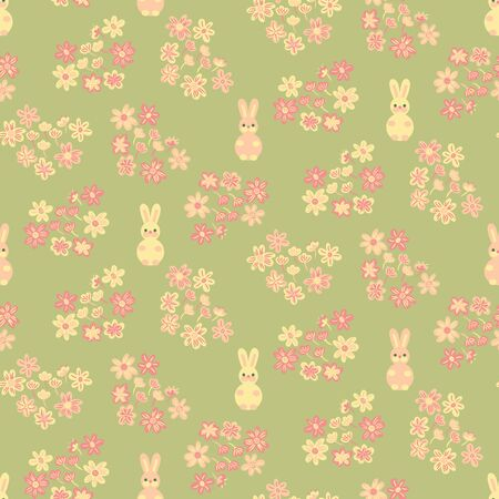 A seamless vector pattern with pink and yellow bunnies and foral hearts on a fresh green background. Spring surae print design. Great or easter fabrics and stationery.