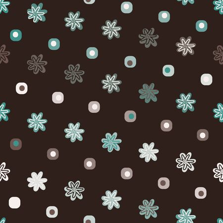 A simple seamless vetor pattern with flower heads and geometric shapes on a dark brown bakground. Surface print design.