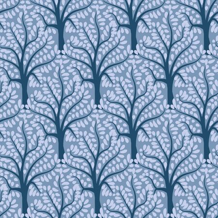 A seamless vector pattern with blue ornamental forest. Nature themed surface print design. Great for backgrounds, fabrics and stationery.