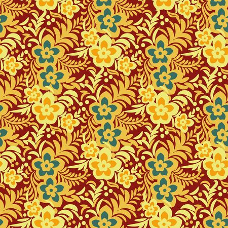 A vibrant seamless vector pattern with golden flowers on red background. Bright surface print design. Repeatable great for fabrics, stationery and packaging. Иллюстрация