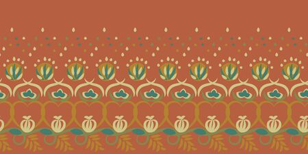 A seamless vector horizontal border floral folk border print. Surface print design. Great for decorating ards, invitations, posters and fabrics.