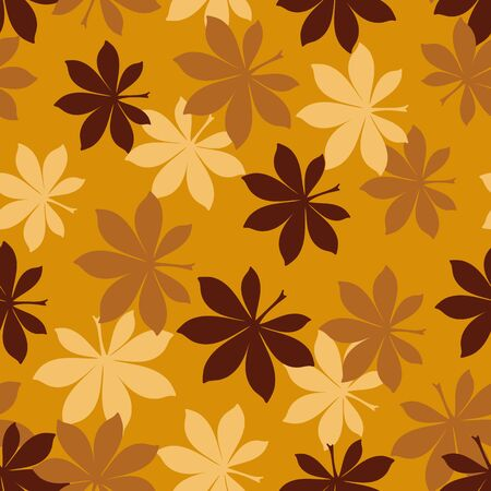 A seamless vector autumn pattern with bukeye leaves in mustard colors. Seasonal surface print design. Great or fabrics, backgrounds and stationery. Imagens - 133806291