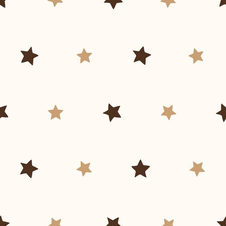 A simple vector seamless pattern with chocolate colored stars. Great for childish backgrounds, stationery, nursery textiles.