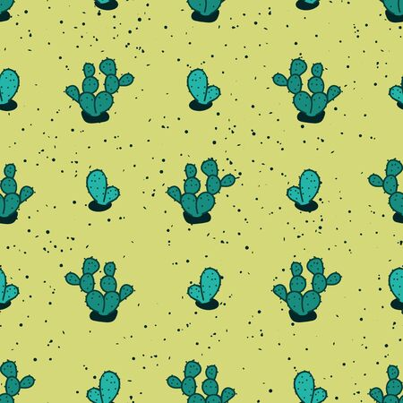 A seamless vector pattern with teal cati plants on a yellow desert sand. Surface print design. Stockfoto - 133806295