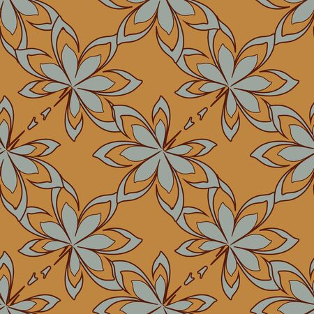 A seamless vector pattern with autumn leaves on a mustard background. Seasonal surface print design. Great or farbics, backgrounds and stationery.