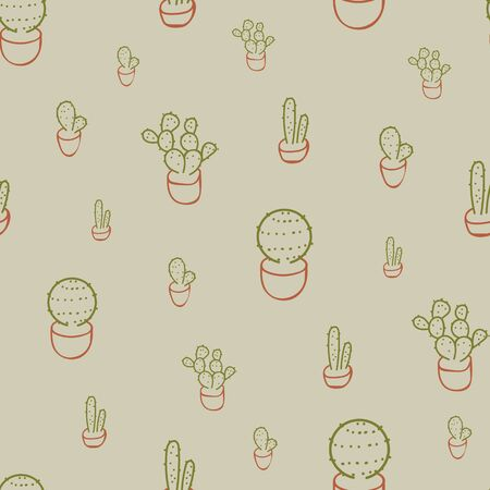 A seamless vector pattern with potted succulents doodle. Surface print design.