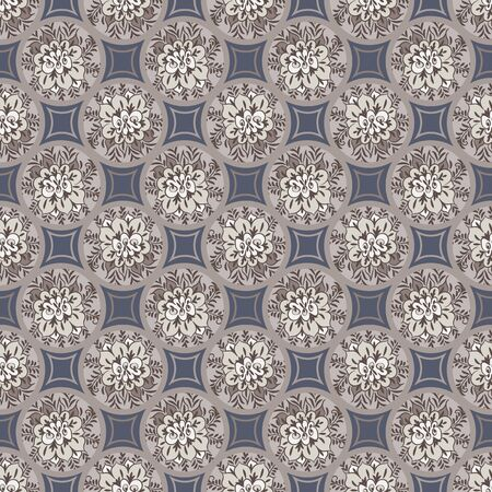 A seamless vector pattern with floral decorated porcelain tiles mosaic in muted grey blue and brown. Decorative vintage surface print design. Great for stationery, home decor and backgrounds.