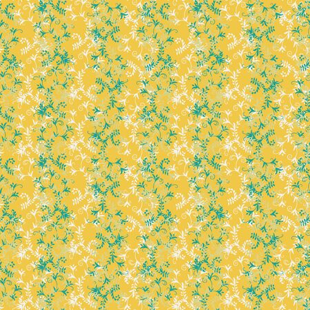 A seamless vector vintage pattern with ornamental branches and leaves in yellow and green colors. Decorative surface print design. Great or stationery, fabrics and backgrounds.