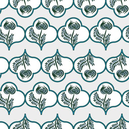 A seamless light vector pattern with blue folk floral motifs. Beautiful surface print design. Great for stationery and textiles.