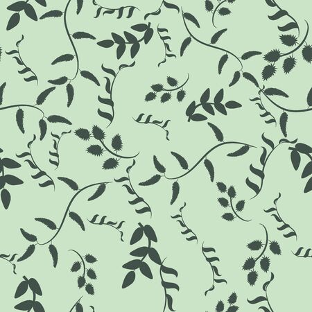 A seamless vector vintage pattern with delicate leaves and branches silhouettes in green colors. Nature themed srface print design. Great or backgrounds, fabrics, cards, wrapping paper and packagig. Иллюстрация