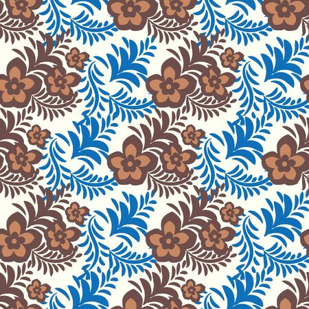 A seamless vector folk pattern with brown lowers and blue leaves. Feminine decorative surface print design.