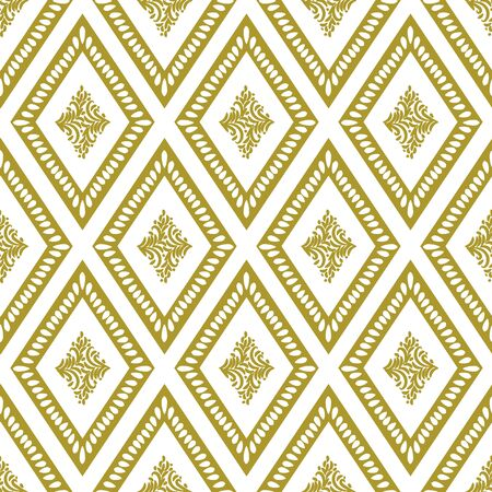 A seamless vector pattern with golden diamond shapes with leaves in the middle. Light and luxurious surface print design. Great for backgrounds, gift wrap, stationery, wedding cards and invitations.
